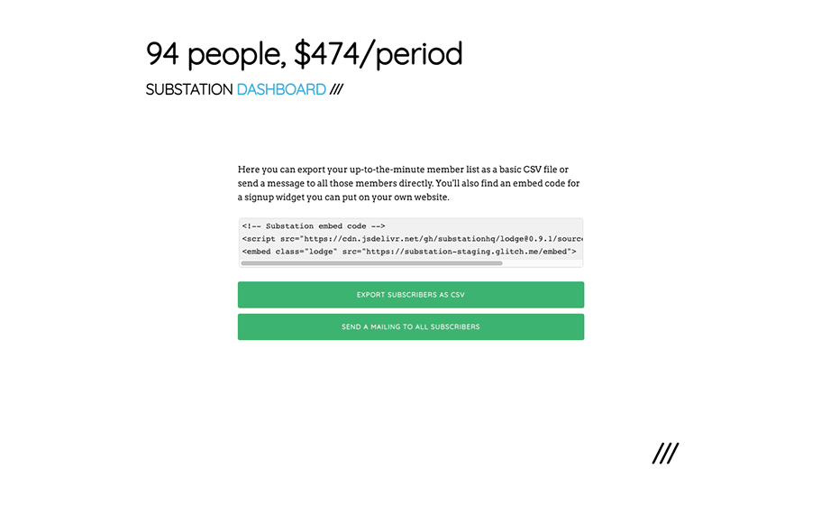 The dashboard — an embed code, a CSV export, and an option to mail all members